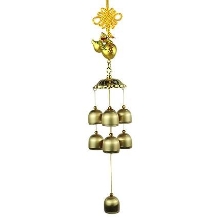 Campana de viento ZQ Home Town House Evil Spirits Campana de cobre puro Flotador de oro