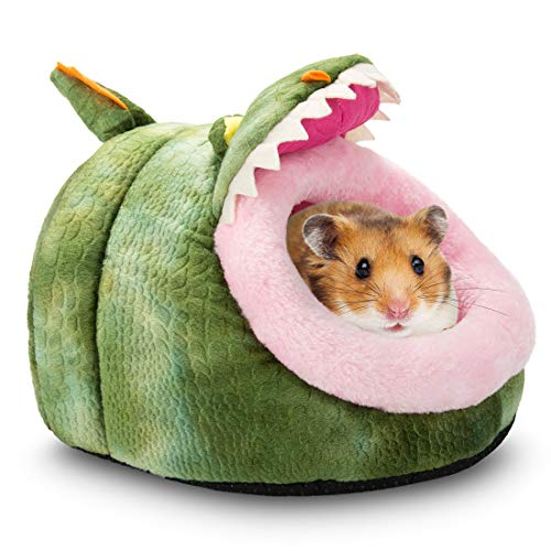 Hollypet Warm Small pet Animals Bed Dutch Pig Hamster Cotton Nest Hedgehog Rat Chinchilla Guinea Habitat Mini House, Green Crocodile