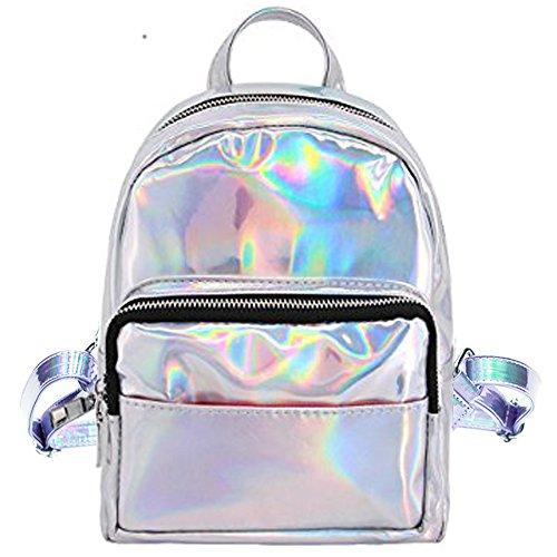 Cuddty - Bolso mochila para mujer plata