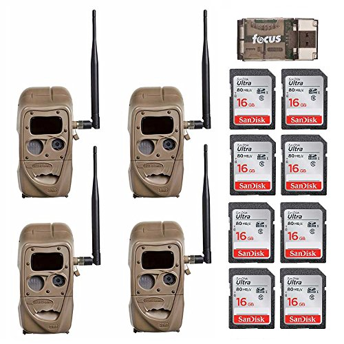 Cheap Cuddeback CuddeLink J Series J-1422 Black Flash 20MP Trail Camera 4-Pack with 8 Memory Cards and Focus Reader