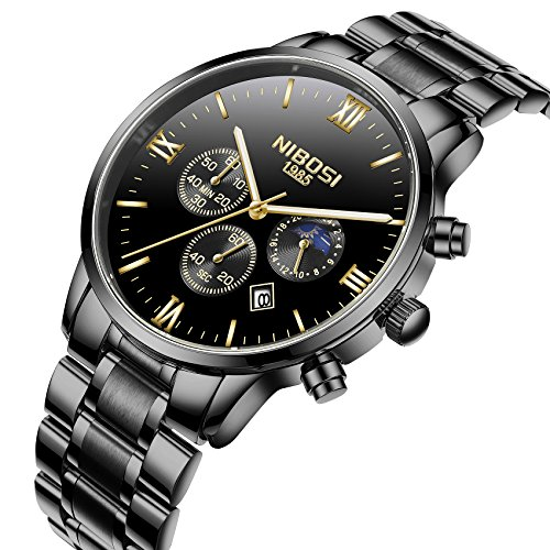 Automatic Quartz Watch (Mens Watches Automatic Date Chronograph Watch Men Sports Watches Waterproof 30M Full Steel Quartz Men's Black Watch)