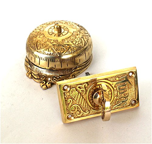 (Twist Door Bell antique vintage REPLICA brass door hardware non electric hand crank)