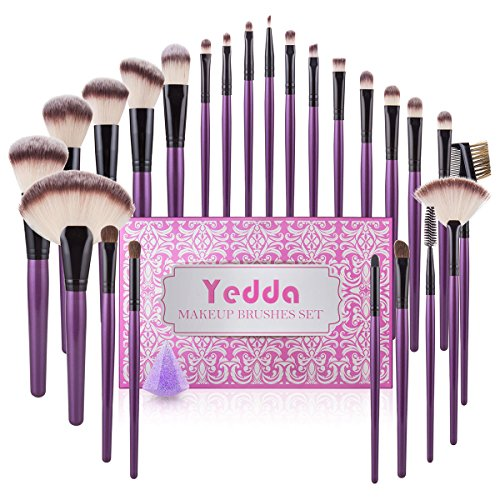 Yedda Makeup Brush Set , 24+1 Pieces Makeup Brushes Gift Set Professional for Foundation Blending Blush Concealer Eye Shadow Brush with Beauty Silicone Blender and Ideal Valentine Day Box