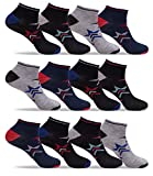 Mens Bulk Multi Color Lightweight Stretch Low Cut Athletic Ankle Socks 12 Pack (Shoe: 8-12/Sock: 10-13, Black/Grey C)