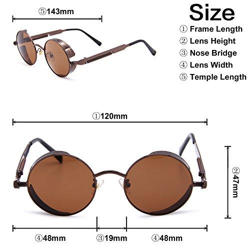 marron reflectante oscuro pequeño sol gafas efecto y redondo Espejo hombres para lente amp; polarizadas amztm mujeres de las nXTUAawX