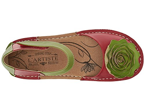 L'Artiste by Spring Step Women's Caicos-Rd Mary Jane Flat, Red/Multi, 40 EU/9 M US