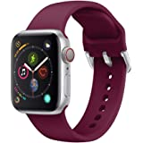 Ontube Strap Compatible with Apple Watch,Soft Silicone Sport Bands Wristband for Apple Watch Series 5/4/3/2/1 (38MM/40MM, Red Wine)