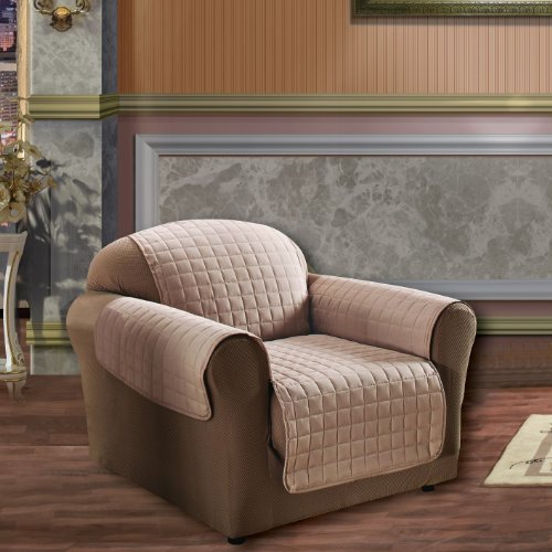 Natural Elegance Linen Quilted Pet Dog Children Kids Furniture Protector Microfiber Slip Cover Chair