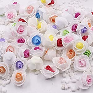 CANTOSI Home Ornament - 50pcs Mini Pe Foam 2color Rose Artificial Flower Head for Wedding Home Decoration DIY Wreath Valentine's Day Fake Flowers 25