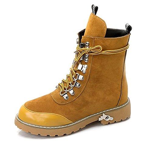 HSXZ- Zapatos de mujer PU Invierno Fall Comfort Moda Botas Bloque Tacón Puntera Redonda para Casual Negro Marrón marrón