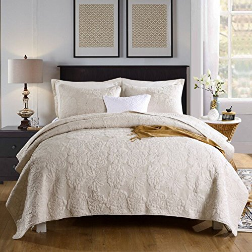 "Quilt Set King, Cotton World Li Premium 3 Piece Oversized Coverlet Set as Bedspread Bed Cover Reversible Luxury Light Weight 106"" x 98""/ Pillow Shams 20"" x 36""- Wrinkle & Fade Resistant-King/CA King from Cotton World Li"
