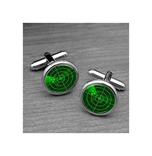 (Radar Screen's Cufflinks, Green, Soliders Boyfriends Cufflinks, Military Solider, Custom 16mm Round Glass Mens Cufflinks )