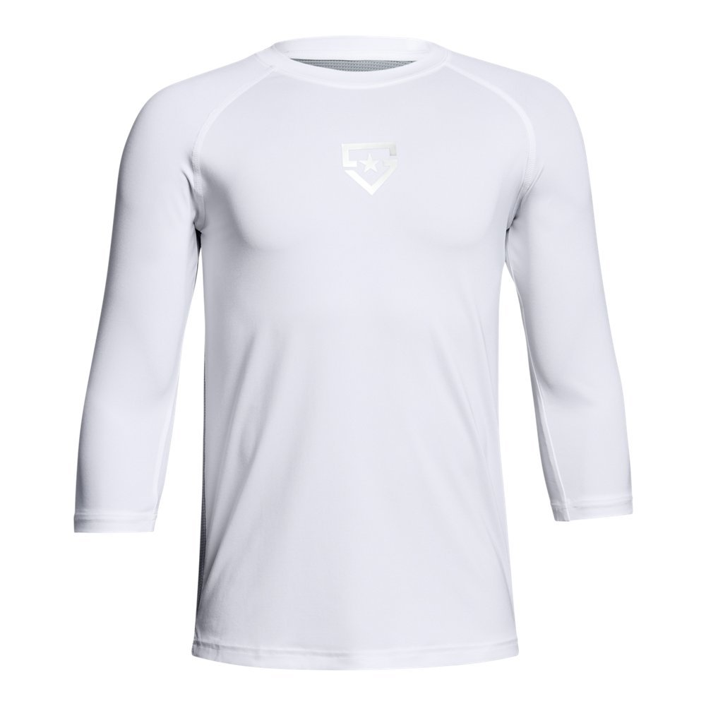 Boy's Under Armour Boys' Heater 3/4 sleeve T-Shirt, White (100)/Silver, Youth X-Large by Under Armour