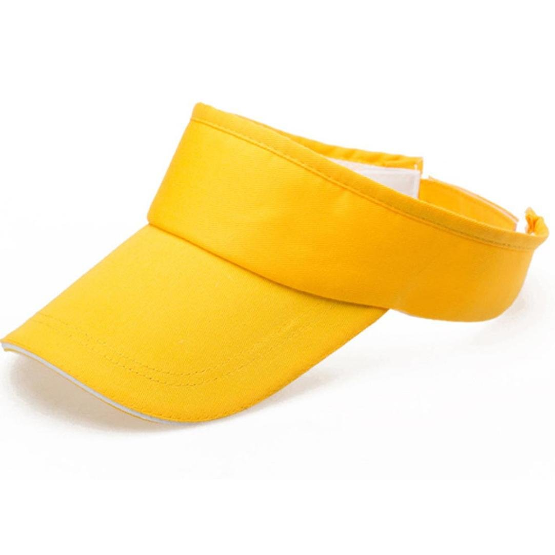 Adult Athletic Mesh Visor Men Women Sport Sun Visor Adjustable Cap (Yellow)