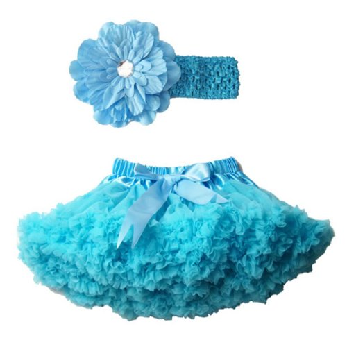 Buenos Ninos Girl's Tutu Pettiskirts Set Daisy Hair Band Size 1-2T Blue