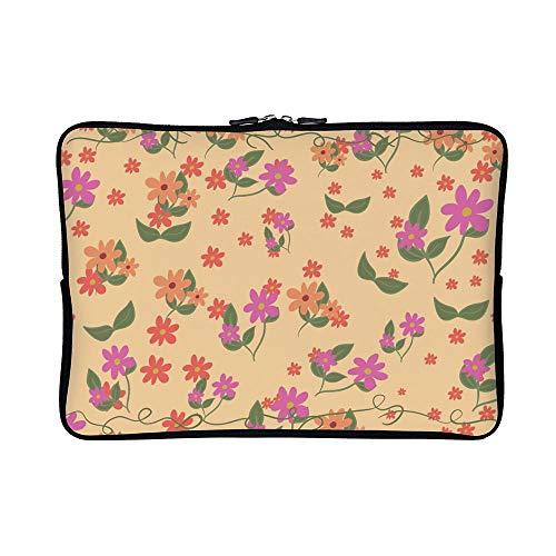 DKISEE Floral Ditsy Neoprene Laptop Sleeve Case Waterproof Sleeve Case Cover Bag for MacBook/Notebook/Ultrabook/Chromebooks