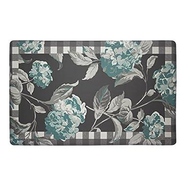 Laura Ashley Anti-Fatigue Comfort 20  x 32  Kitchen Mat, Hydrangea with Check Border, Teal/Grey