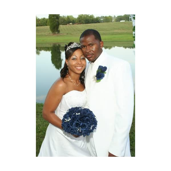 Navy Blue Silk Rose Hand Tie (36 Roses) – Silk Bridal Wedding Bouquet