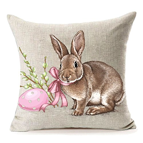 (MFGNEH Easter Rabbit with Egg Home Decor Pillow Covers, Easter Bunny Engrave Illustration Vintage Graphic Cotton Linen Throw Pillow Case Cushion Covers 18x18 )
