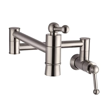 SARLAI S0005F Stainless Steel Pot Filler Brushed Nickel Wall Mount Kitchen  Faucet, Single Hole Two