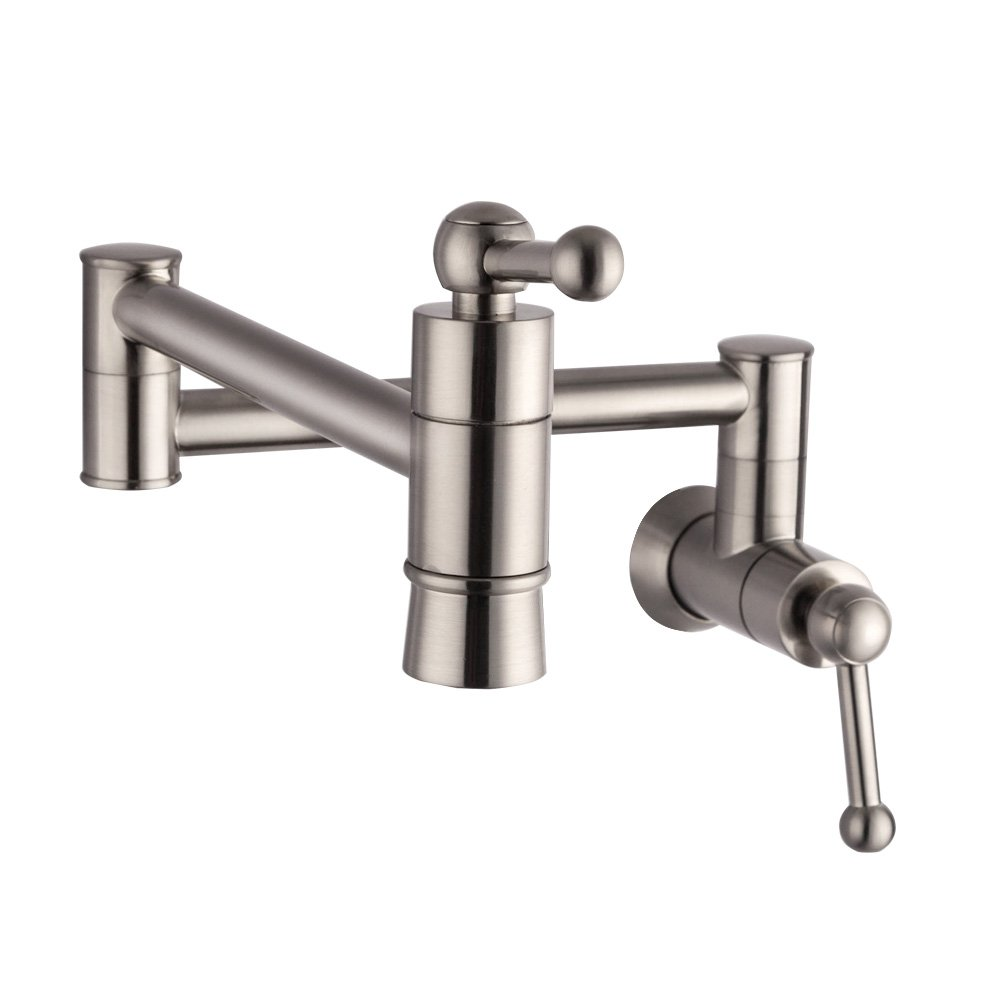 SARLAI S0005F Stainless Steel Pot Filler Brushed Nickel Wall Mount Kitchen Faucet, Single Hole Two Handle Kitchen Sink Faucet