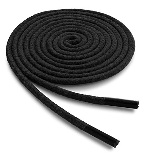OrthoStep Waxed Dress Round 30 inch Black Shoelaces - Extra Durable Shoe and Boot Laces 2 Pair Pack