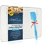 "CoolingBake Stainless Steel Wire Cooling and Baking Rack with Non-Stick Silicone Spatula, 11.5"" x 16.5"""