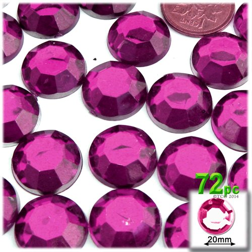The Crafts Outlet 72-Piece Flatback Round Rhinestones, 20mm, Fucshia ()