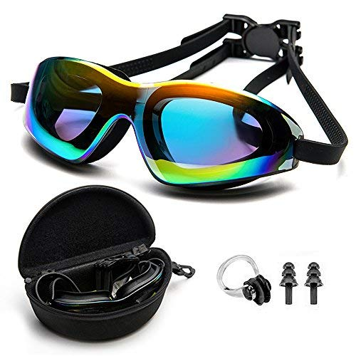 DofooU Swimming Goggles, Swim Goggles No Leaking Anti Fog UV Protection Wide View, Swim Goggles for Adult Men Women Youth, Water Goggles with Free Protection Case, Nose Clip, Ear Plugs, Backpack