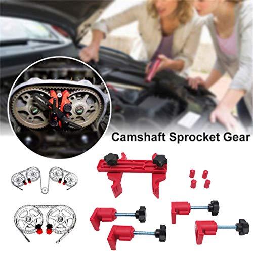 Juesi Cam Clamp Set, 9pcs Car Auto Single, Dual or Quad Cam Camshaft Engine Timing Sprocket Gear Locking Tool Kit (Red)