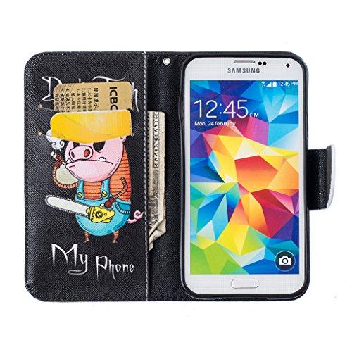Trumpshop Smartphone Carcasa Funda Protección para Samsung Galaxy S5 (5.1 Pulgada) [Jirafa] PU Cuero Caja Protector Billetera con Cierre magnético Choque Absorción Dont Touch My Phone (Cerdito)