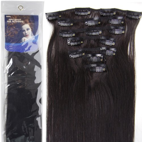 Lilu 20''7pcs Fashional Clips in Remy Human Hair Extensions 24 Colors for Women Beauty Hot Sale (#1B- off black) by Lilu