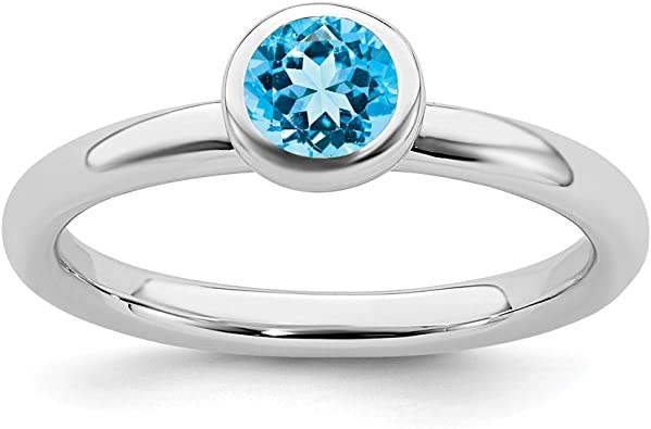 December Gemstone Ring Engagement Ring Natural Blue Topaz Ring in 925 Sterling Silver Gifts For HER Birthstone Ring Wedding Ring