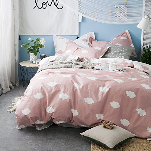 BuLuTu Cloud impress Kids Duvet Cover Twin Pink White Cotton for GirlsSummer extremely gentle Premium 2018 New current undoable Pink Teen Bedding Sets Twin Comforter Cover together with Zipper ClosureNo Comforter