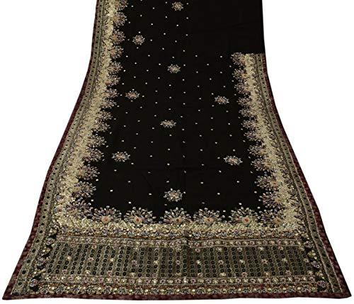 Beaded Georgette Silk - Heavy Vintage Saree 100% Pure Georgette Silk Hand Beaded Peacock Sari Fabric