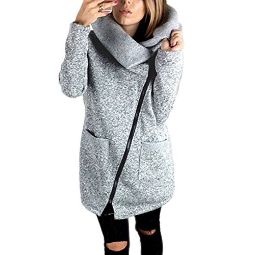 Long Zipper Jacket Sleeve Qitun Outerwear Gray Lapel Irregular Sweatshirt Coat Tops Women's Overcoat Casual Pockets XzfzExyq5w