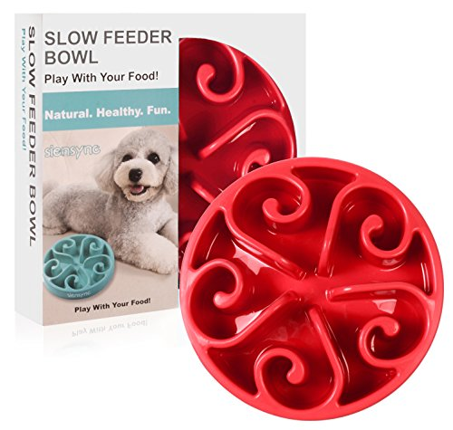 Siensync Slow Feeder Dog Bowl, ã?NON SLIP VERSION ã Fun Feeder Interactive Bloat Stop Dog Bowl, Eco-friendly Durable Non Toxic Bamboo Fiber Slow Feed Dog Bowl, 8 Inch