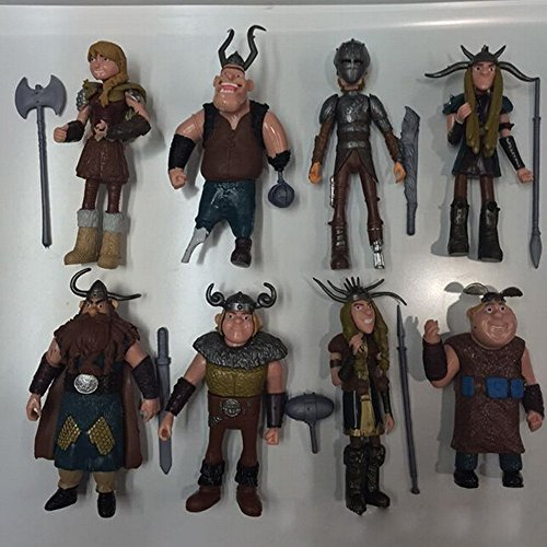 FiraDesign Set of 8 Pcs How To Train Your Dragon Action Figures Hiccup Astrid Stoick & Ruffnut Child Toys Xmas Gift Cake toppers