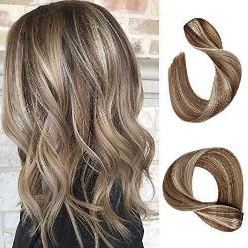 Clip in Hair Extensions Chestnut Brown with Blonde Highlights Straight Real Human Hair Clip in Extensions 7 Pieces 70 Gram Silky Straight Double Weft Remy Clip in/on Hair Extensions for Women Fine Hair Full Head 18 Inch