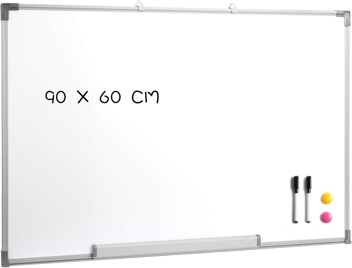 magnetisches Whiteboard mit 2 Radiergummimarkern und 2 Magneten nach dem Zufallsprinzip DOEWORKS 90cm x 60cm Whiteboard zum L/öschen