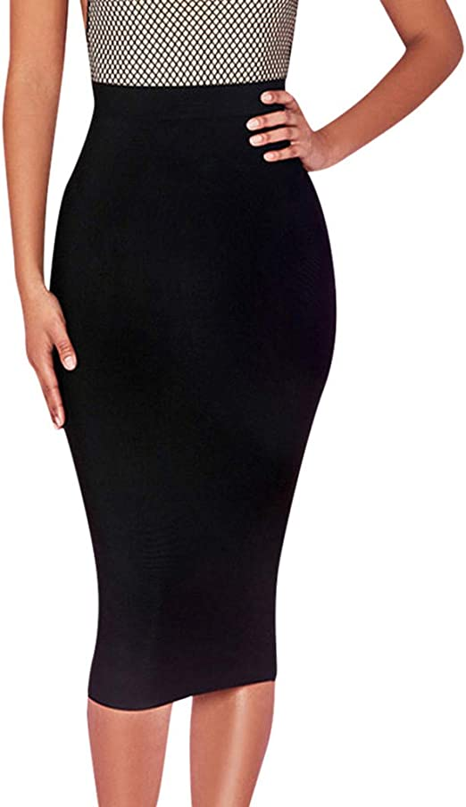 NEW BLACK SLIT MIDI LENGTH SYNTHETIC LEATHER BODYCON SKIRT WOMENS PLAIN OFFICE