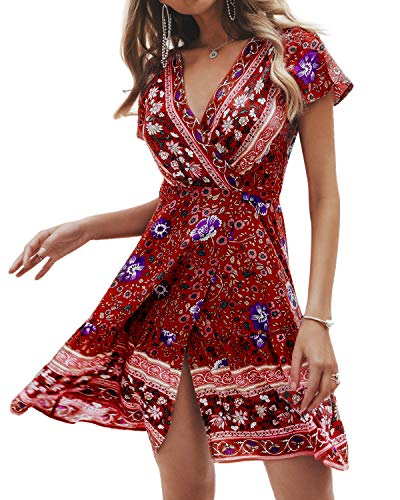 - STYLE DOME Womens Floral Printed Summer Dress Wrap V Neck Bohemian Beach Dress Mini Dress Casual Wine Red M