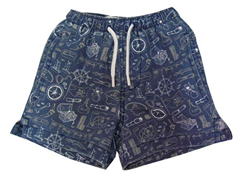 INGEAR Little Boys Quick Dry Beach Board Shorts Kids Swim Trunk Swimsuit Beach Shorts with Mesh Lining (Pirate, 4T)