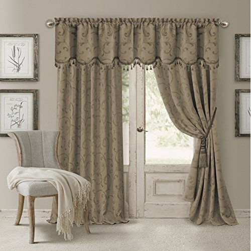 "Elrene Home Fashions 026865901443 Blackout Energy Efficient Room Darkening Rod Pocket Window Curtain Drape Regal Jacquard Woven Panel, 52"" x 84"", Taupe"