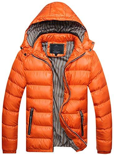 chouyatou Men's Winter Detachable Hooded Stripe Lined Insulated Puffer Jacket (Medium, Orange) ()