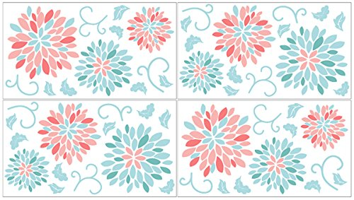 Baby and Kids Wall Decal Stickers for Turquoise and Coral Emma Floral Collection - Set of 4 Sheets (Coral And Turquoise Curtains)