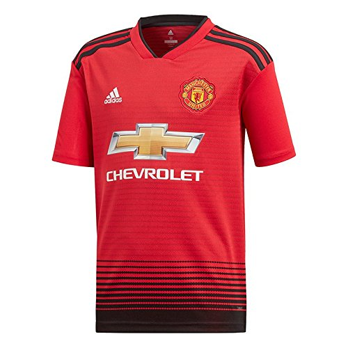 Utd Man Soccer (adidas Manchester United FC Official 2018/19 Short Sleeve Home Jersey - Youth - Real Red/Black - Age 11-12)