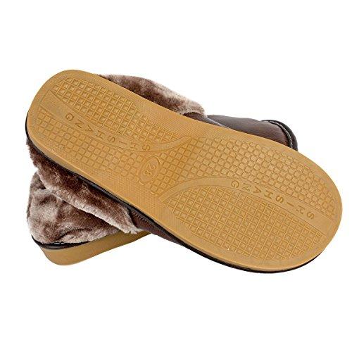 Haisum 8819-m - Zapatillas de estar por casa de piel vacuna para hombre marrón claro
