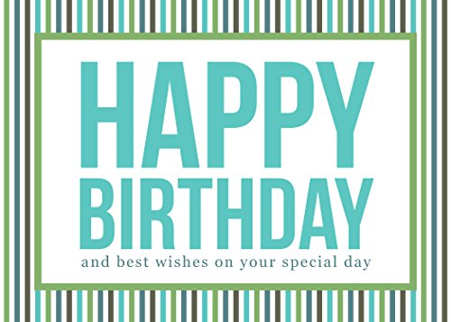 Birthday Greeting Cards - B1604. Business Greeting Card Featuring a Happy Birthday Message Surrounded by Colorful Stripes. Box Set Has 25 Greeting Cards and 26 Bright White Envelopes.