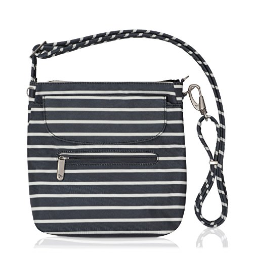 Travelon Anti-Theft Classic Mini Shoulder Bag (Black w/White Stripe - Exclusive Color) by Travelon